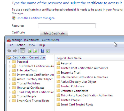 Windows 7 Certificate manager