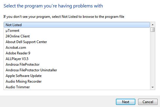 Windows 7 select incompatible programs