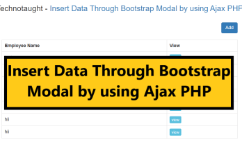 Insert Data Through Bootstrap Modal by using Ajax PHP
