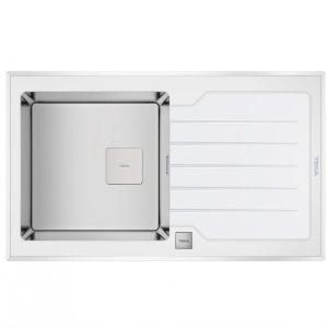 мивка за вграждане със закалено стъкло авт. клапан за шкаф със светъл отвор 50 см DIAMOND RS15 1C 1E БЯЛА