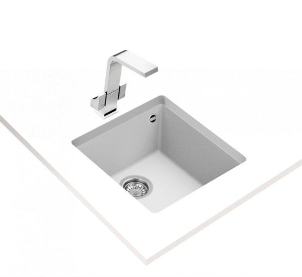 гранитна мивка за шкаф 50 см SQUARE 40.40 TG БЯЛА 1
