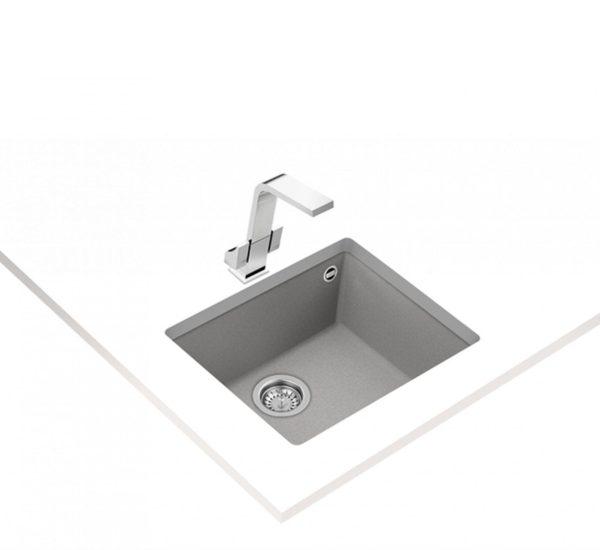 гранитна мивка за шкаф 60 см SQUARE 50.40 TG КАМЕННОСИВА 1