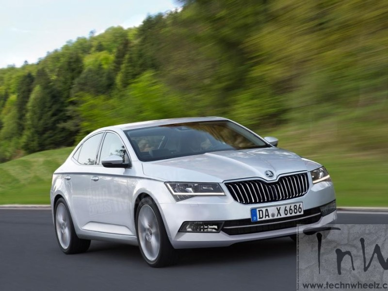 Spy Pics: 2016 Skoda Superb spied with minimal camo in China
