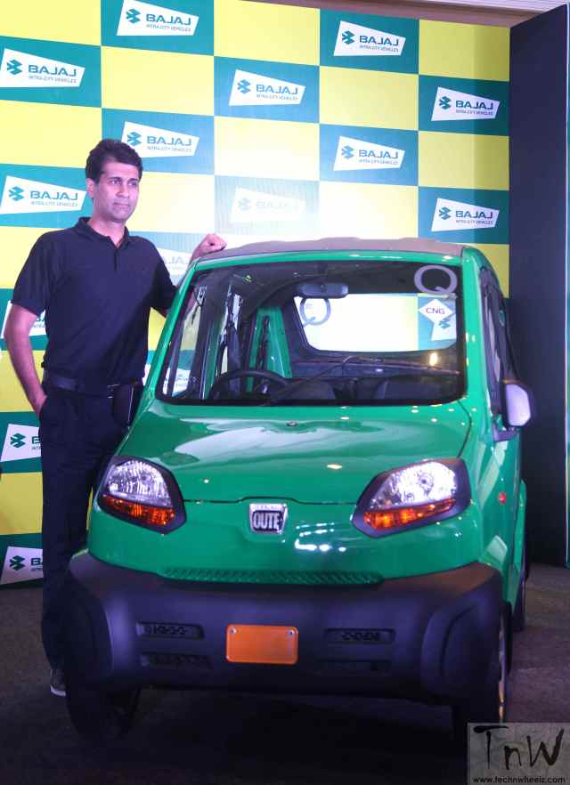 "Rajiv Bajaj, MD, Bajaj Auto at the launch of RE60 ""Qute"""