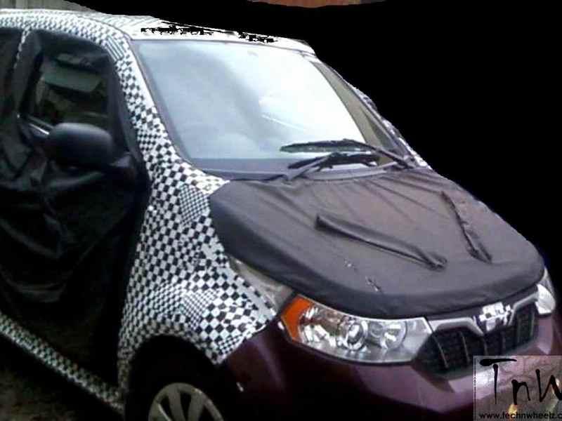 Mahindra e2o 4-door spied up-close.  Reveals front design