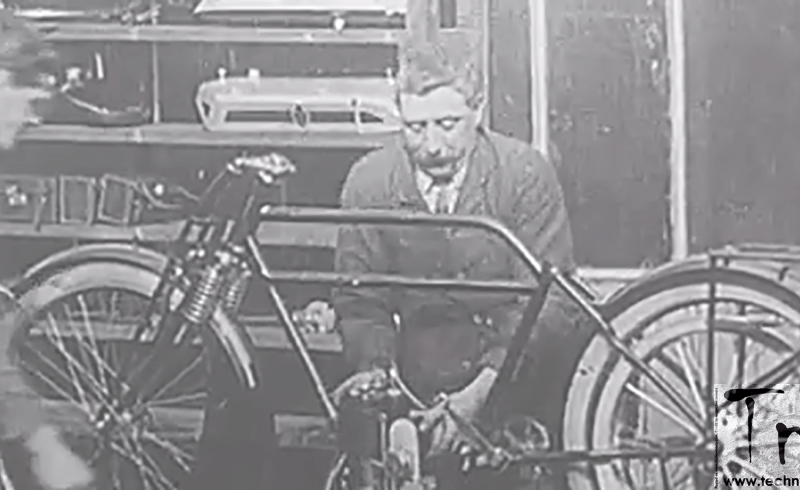 Silent film on how motorcycles were built before the assembly lines