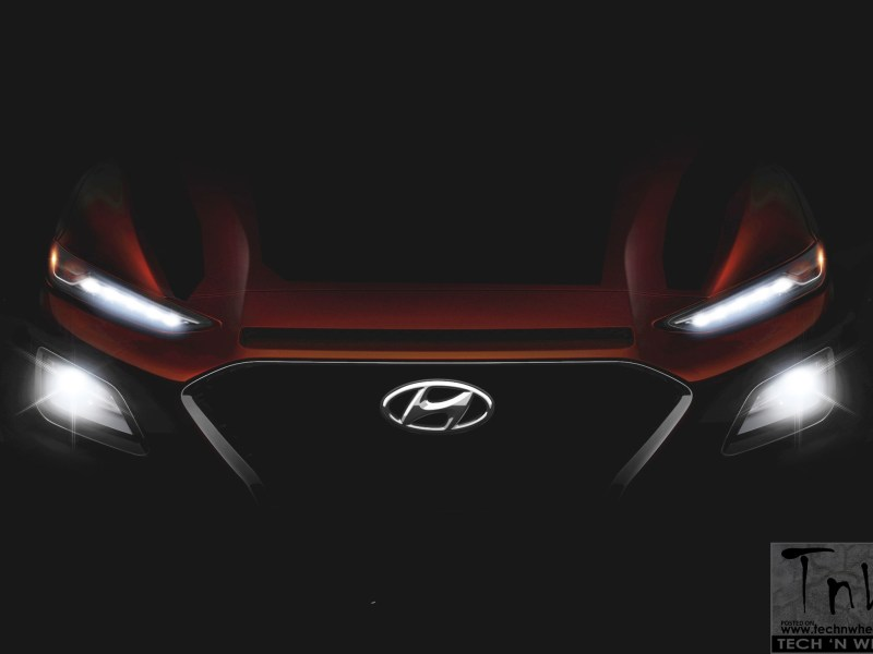 Hyundai Kona subcompact crossover teased. Hints front end design