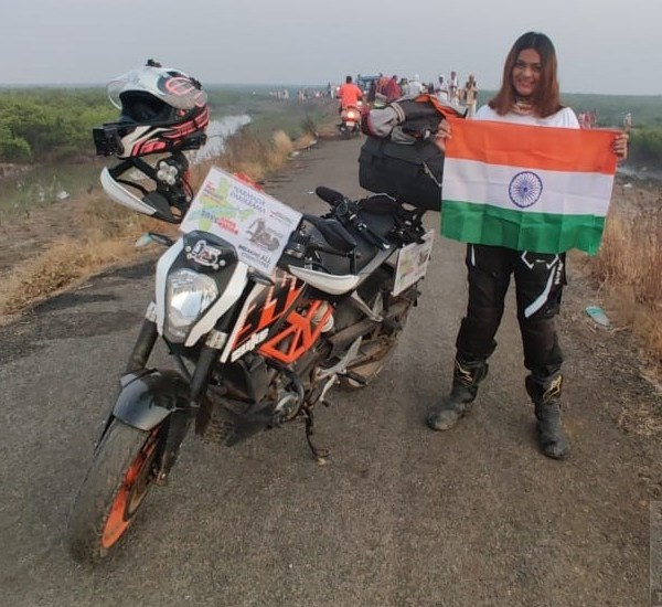 RiderGirl Vishakha rides solo with 'Save River Save Nation' message