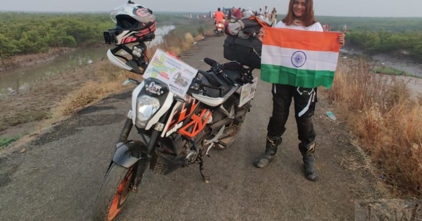 RiderGirl Vishakha rides solo with 'Save River Save Nation' message