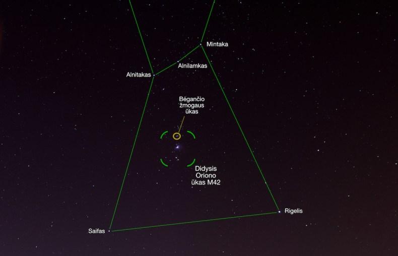 Oriono žvaigždynas ryškus ir puikiai matomas netgi miesto centre (Gyčio Burausko nuotr.)