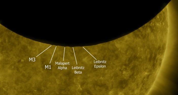 Orbitinės Saulės Observatorijos darytose nuotraukose galima išskirti Mėnulio reljefo elementus. NASA nuotr.