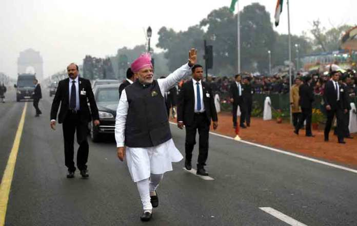 The Prime Minister Narendra Modi at Rajpath on the occasion of the 68th Republic Day Parade.