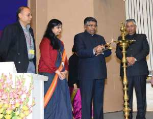 The Union Minister for Electronics & Information Technology and Law & Justice, Ravi Shankar Prasad lighting the lamp at the presentation ceremony of the Digital India Awards in New Delhi on December. (Photo: PIB)