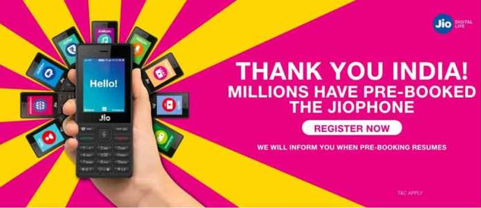 Reliance Jio has now suspended pre-booking for JioPhone. (Photo/Jio.com)