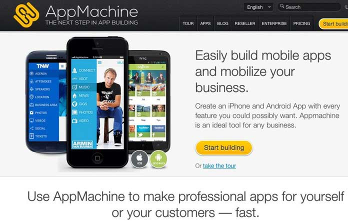 AppMachine is an easy-to-use platform to build and design professional native apps for both iOS and Android. Using the drag-and-drop interface, you can combine different building blocks that offer a variety of features, such as information, photos and video.