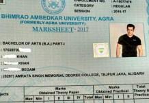 Agra University marksheet, Agra University, Salman Khan, Salman Khan photo on the marksheet, Dr Bhim Rao Ambedkar University