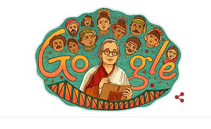 Google Doodles, Mahasweta Devi, tribute to Mahasweta Devi, 92nd birth anniversary of Mahasweta Devi, Mahasweta Devi writing