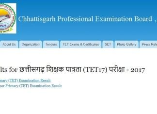 Chhattisgarh TET 2017, cgvyapam.cgstate.gov.in, Chhattisgarh Professional Examination Board, Chhattisgarh CG TET 2017