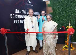 Rama Vedashree, CEO, Data Security Council of India, Amol Kulkarni, Chief Product Officer and Jagdish Mahapatra, Managing Director Asia at the launch of CrowdStrike's first innovation and development center in Pune. (Photo: File)