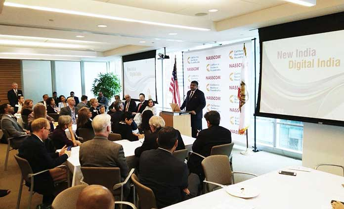 Union IT Minister Ravi Shankar Prasad addresses the CEOs and business leaders from leading tech firms in Silicon Valley about the growth potential and business opportunities that Digital India offers. (Photo/Twitter/@rsprasad)