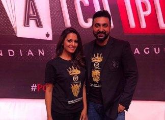Raj Kundra with online poker site pokerraj.com brand amabassador Anita Hassanandani. (Photo: Twitter/@anitahasnandani)