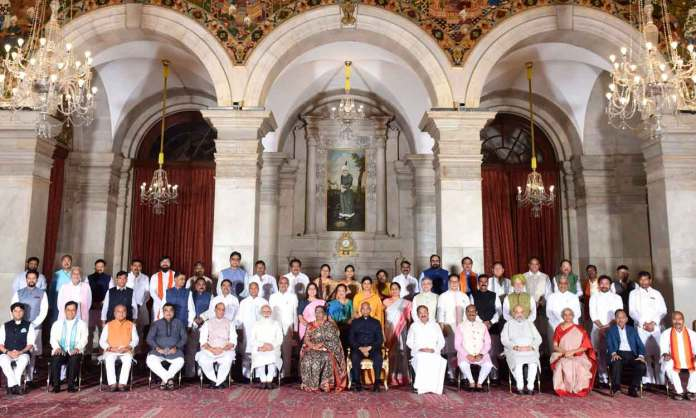 President Ram Nath Kovind, Vice President M. Venkaiah Naidu, Prime Minister Narendra Modi and other members of Council of Ministers at a Swearing-in Ceremony, at Rashtrapati Bhavan, in New Delhi. (Photo: PIB)