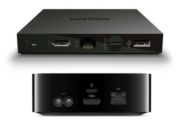 Amazon Fire TV(上)と新しいApple TV(下)のインターフェイス