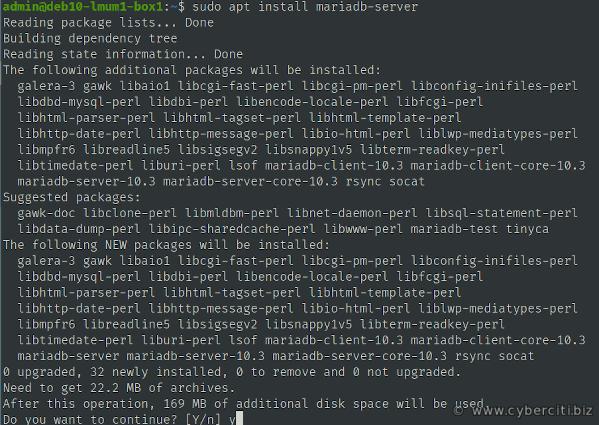Installing MariaDB on Debian 10