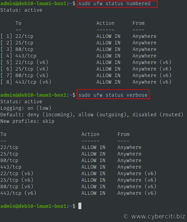 Listing UFW rules on Ubuntu or Debian Linux