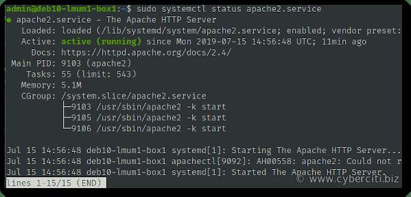 Start restart Apache 2 on Debian 10