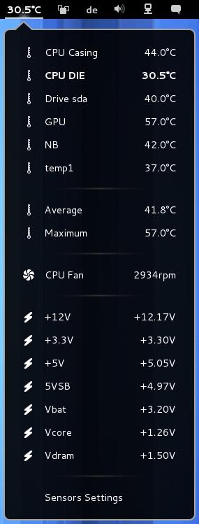 Shows CPU temperature, HDD temperature, voltage and fan RPM