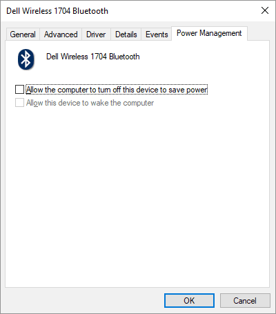 Uncheck Allow Windows to turn this device off to save power