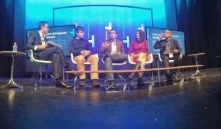 From left, Lou Rassey, Matt Clayson, Chad Dickerson, Marleen Vogelaar, and K. Venkatesh Prasad