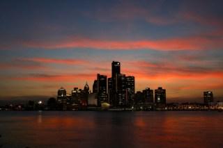 Detroit skyline image via Shutterstock