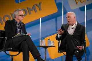David Kirkpatrick (l) and Mark Bertolini at Techonomy 2013. (Photo: Asa Mathat)