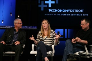 Indiegogo's Danae Ringelmann (center) at Techonomy 2012 with TechShop's Mark Hatch (l) and David ten Have of Ponoko.