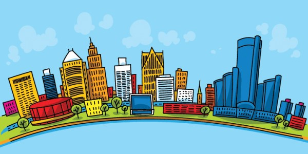 Detroit skyline illustration via Shutterstock
