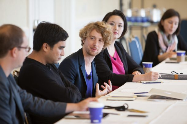 From left, Marcus Wohlson of WIRED, Autodesk's Carlos Oguin, Drew Purves of Microsoft Research, and BioCurious co-founder Eri Gentry