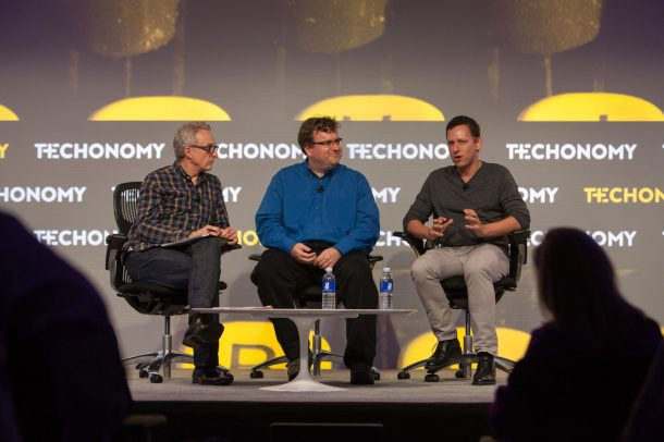 From left, Techonomy's David Kirkpatrick, LinkedIn's  Reid Hoffman, and Peter Thiel of Thiel Capital at the Techonomy 2014 conference in Half Moon Bay, Calif.