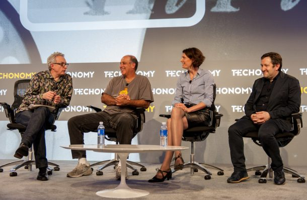 From left, Techonomy's David Kirkpatrick, Carl Bass of Autodesk, Marleen Vogelaar of Shapeways, and PCH's Liam Casey at Techonomy 2014 in Half Moon Bay, Calif.
