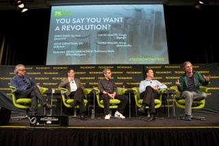From left, David Kirkpatrick, Chris Waller, David Glazer, Steve Jurvetson, and Drew Endy. (Photo by Rebecca Greenfield)