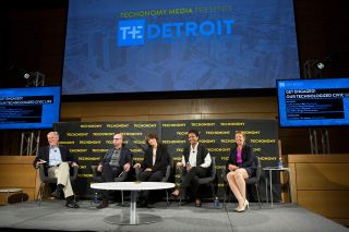 Techonomy Detroit 15 (From left, James Fallows, John Webb, Annmarie Levins, Lauren Hood, Jennifer Crozier