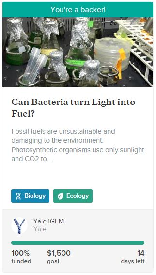 A project on science crowd funding site Experiment.
