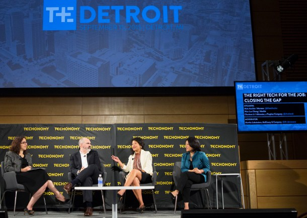 The skills gap session at Techonomy Detroit. From left are moderator Martha Laboissiere of McKinsey & Co., Matt Anchin of Monster, author Wan-Lae Cheng, and Charlene Li of Altimeter.