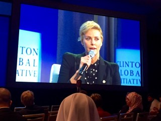 Charlize Theron speaks at CGI about her commitment to the Africa Outreach Project. (photo Thomas Ermacora)