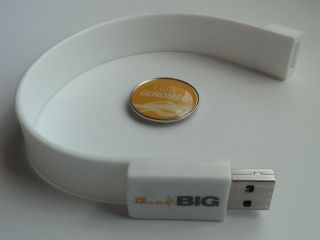 "Photo of the thumb drive (bracelet) and ""I got genomed"" button"
