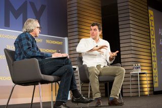 Adam Mosseri, who oversees the Facebook news feed, on stage at Techonomy 2015 with David Kirkpatrick. (Photo Rebecca Greenfield)