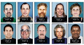 Some of the many brave souls who opened their genomic and other data to the world in the Personal Genome Project starting in 2005. The strips of tape help record facial metrics. (Photo courtesy PGP)