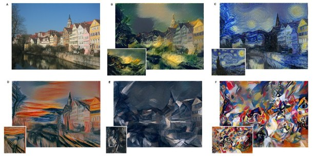 "1.Style transfer illustration from ""A Neural Algorithm of Artistic Style"" by Leon A. Gatys, Alexander S. Ecker, and Matthias Bethge. Source: http://arxiv.org/pdf/1508.06576v1.pdf"