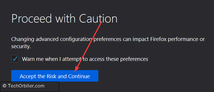 "Click the button to ""Accept the Risk and Continue"""
